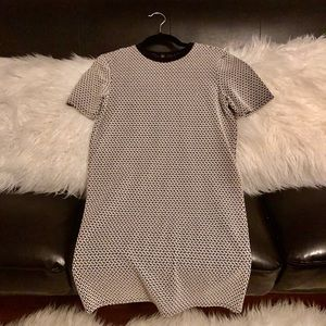 S black and white knit short sleeve sweater dress